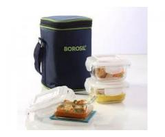 Tinku Trading --- Borosil --- Microwavable Lunch Box -- Set of 3 Round Dish