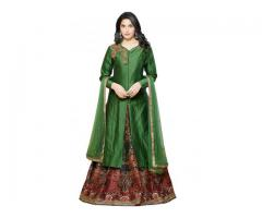 New Latest Arrival Green And Multi Color Banglori Silk Indo Western