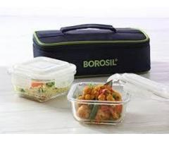 Tinku Trading --- Borosil --- Microwavable Lunch Box set of 2 Square Dish