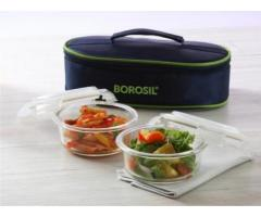 Tinku Trading ---Borosil --- Microwavable Lunch Box set of 2 Round Dish