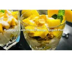 Meenu's Cookbook --- Healthy Mango Parfait, fruit, corn flakes and yogurt