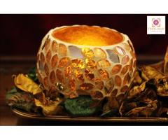 Ethnic Haat- Handmade Golden Mosaic Bowl Set with Tray